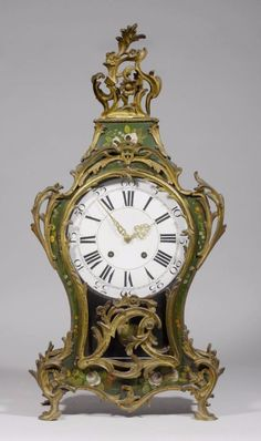 PAINTED CLOCK, Louis XV, Neuchâtel, 18th century. The movement signed J.H.MONS…