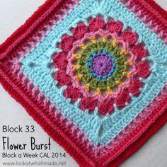Block 33:  Flower Burst - Chris Simon Free crochet granny afghan square pattern on lookatwhatimade