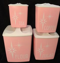 Vintage 50s 60s Mid Century Pink White Starburst Set 4 Nesting Canisters Kitchen