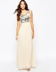 Little Mistress Chiffon Maxi Dress With Bardot Neck And Sequin Front