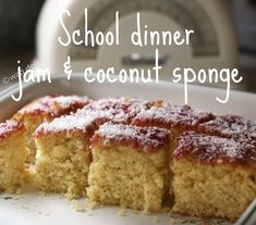 School dinners 'jam and coconut sponge cake' recipe #bakeoff