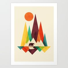 Colorful geometric landscape with bear.<br/> <br/> Colorful, whimsical, mountains, outdoor...