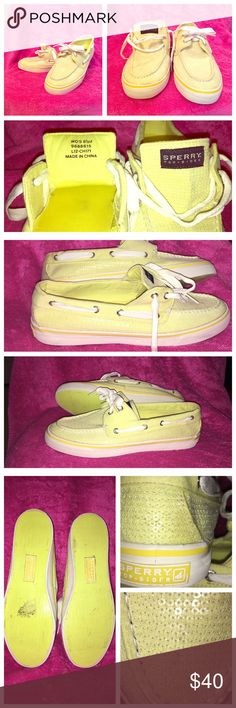 👟✨Sequined Sherry's 🌟✨ ✨ Yellow Sequined Sperry Top~Siders 8 1/2 M. Cute and I'm very good condition👟🎀 rarely worn but does have 2 spots in toe, heel and sole has little wear. Please 👀 closely to the spots. Sperry Top-Sider Shoes Sneakers
