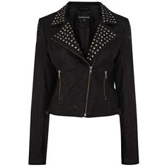 Warehouse Studded Double Stitch Faux Leather Jacket, Black (67 BAM) ❤ liked on Polyvore featuring outerwear, jackets, coats, leather jackets, tops, vegan motorcycle jacket, faux leather motorcycle jacket, studded biker jacket, vegan leather moto jacket and long jacket