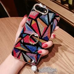 Fashion Shining Luxurious Diamond-bordered Colorful Tassels Iphone 7/7 plus/8/8 plus Case