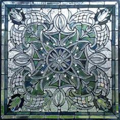 Art Nouveau Stained Glass Framed Graphic Window