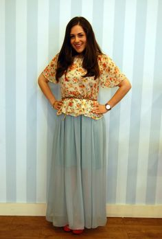 Floral  top and baby blue maxi skirt
