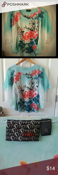 Flowy flower top Very comfy. XL,fits like a L. Worn a hanful of times. m&m Tops Blouses