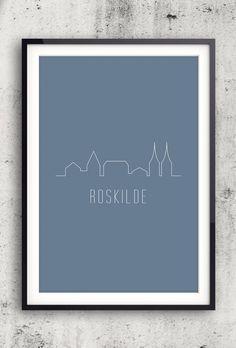Byplakat - Roskilde i blå - 50x70