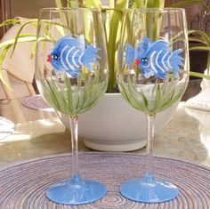 Blue Girly Fish hand painted wine glasses by GlassesbyJoAnne