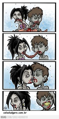 Zombies doin the good old Lady and the Tramp thing