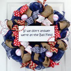 Baseball wreath Ball Field wreath Softball by PinkDoorWreaths