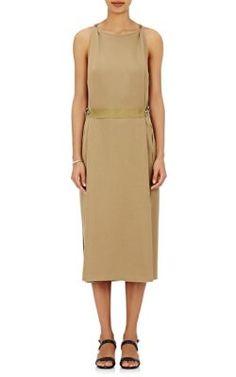Lanvin Draped-Back Polished-Twill Dress at Barneys New York