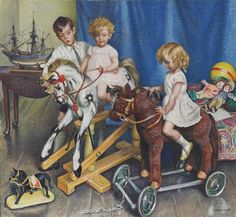 Henry, Anne and Daphne, children of Col by Dame Laura Knight