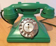 "vintage green bakelite telephone. British GPO phone, no ""cheese board"" though."
