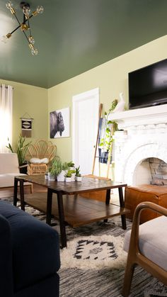 """Why live in a white box when your space has so much potential? Revitalize your living room with the Behr Paint 2020 Color of the Year, """"Back to Nature"""". Click this pin to explore all of the nature inspired colors from the Behr 2020 Color Trends palette! #Sponsored by Behr"""