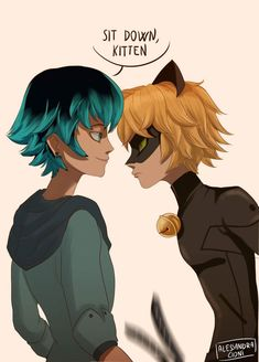 Luka and Chat Noir. Miraculous. By Alessandra Cioni