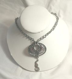 Necklace Gunmetal Silver Chain Large Chunky Black by CindyDidIt