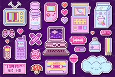 Pixel art 8 bit stickers girls , – Animal Wallpaper And iphone Stickers Kawaii, Anime Stickers, Cute Stickers, Cute Food Art, Cute Art, Printable Stickers, Planner Stickers, Cross Stitch Charts, Cross Stitch Patterns