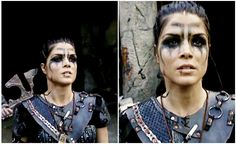 Octavia using Lincoln's war paint Halloween Inspo, Halloween Make Up, Halloween Costumes, Halloween Hair, Cosplay Makeup, Costume Makeup, The 100 Grounders, Marie Avgeropoulos, The 100 Show