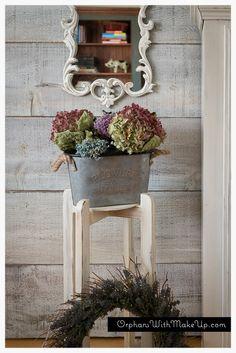Vintage painted mirror, dried hydrangeas, lavender wreath