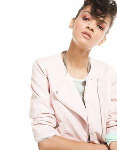 Bershka Romania - Bershka imitation leather 3/4 sleeve jacket