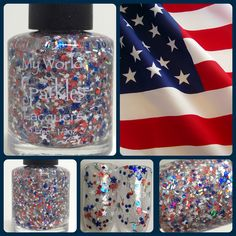 A patriotic beauty! Glory, with red, white, & blue stars, dots, and hologram stripes and micro glitters. www.myworldsparkles.com