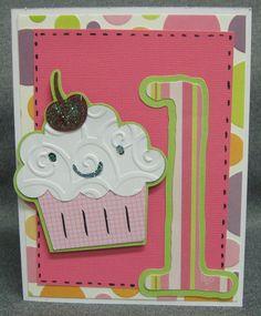 cricut+birthday+cards+for+kids | 1st Birthday Cupcake Card