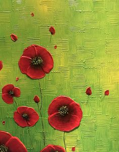 Original Contemporary Abstract red poppies impasto texture palette knife painting on 16 x 20 x .5 staple free sides canvas. Edges painted black. Ready to hang. No Framing Necessary. The artwork is wired Color: Green, yellow, red, orange, black Medium: Acrylic oil Impasto Final coat of varnish has been applied for protection I only use the best Professional Artist Grade canvas and paint so you can always be assured you are getting a gallery quality piece. More of my paintings can be found ...