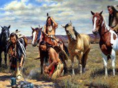 Des indiens avec leurs chevaux