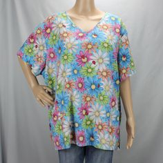 03d2e532186 Details about SB Scrubs Womens Scrub Top 2XL V Neck 3 Pocket Blue & Multi  Colored Circles