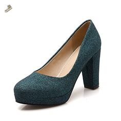 BalaMasa Womens Chunky Heels Sequin Round Toe Green Imitated Leather Pumps-Shoes - 10 B(M) US - Balamasa pumps for women (*Amazon Partner-Link)
