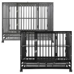 SmithBuilt Heavy-Duty Dog Crate Cage – Two-Door Indoor Outdoor Pet & Animal Kennel with Tray – Various Sizes & Colors - dog kennel diy Steel Dog Crate, Heavy Duty Dog Crate, Dog Cages, Pet Cage, Airline Pet Carrier, Pet Odors, Double Doors, Large Dogs, Small Dogs