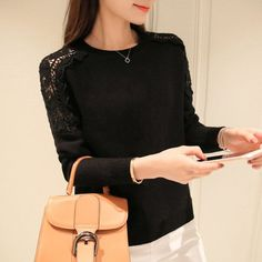 New 2017 Spring Autumn fashion women sweater Hollow out Lace Batwing sleeve sweater women Knitted pullover sweaters