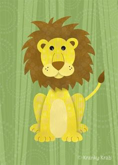 lion-out of scrap book paper