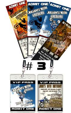 Dirt Bike ATV VIP Pass Birthday Party Ticket invitations