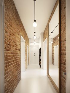 A Stunning Apartment Design Ideas With Colorful Geometric Design and Exposed Brick Wall In It - RooHome Apartment Interior, Apartment Design, Home Interior, Corridor Design, Brick Interior, Painted Stairs, Painted Bricks, Loft, Cool Apartments