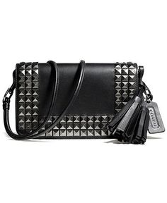 COACH LEGACY PENNY IN ONYX STUDDED LEATHER