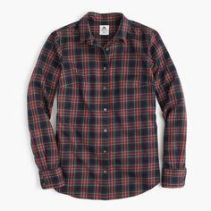 J.Crew Womens Thomas Mason Flannel Shirt In Stewart Plaid (Black, Size 0)