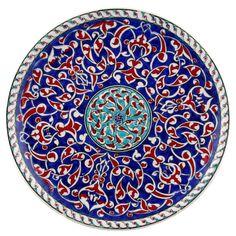 Kobalt Rumi Desenli İznik Çini Tabak