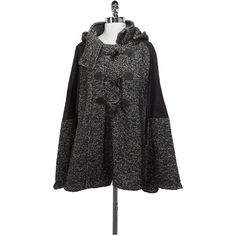 Pre-owned Cynthia Steffe - Brown Tweed & Leather Cape Sz XS ($99) ❤ liked on Polyvore featuring outerwear, leather cape coat, cynthia steffe, leather cape, cape coat and tweed cape coat