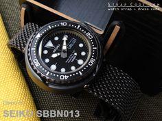 Seiko Tuna Marine Master SBBN013 1000m on  22mm PVD Black Stainless Steel Mesh Watch Bracelet, Solid End Lug Diver Clasp [DC222203BBK002]