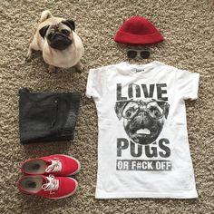 Love Pugs or F#CK OFF t shirt by Meet the Pugs