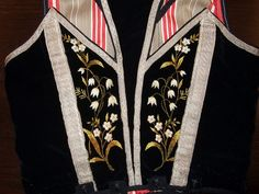 Back of woman's bodice embroidered with lily of the valley. Detail from old Norwegian national costumes. The collection of Rikard Berge and from the exebition at Seljord of old costumes from Telemark county, Norway Folk Costume, Costumes, Scandinavian Embroidery, Dear Daughter, Folk Clothing, Swedish Style, Hollyhock, Lily Of The Valley, Little White
