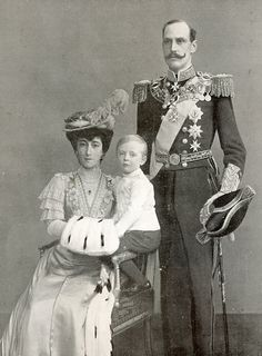 Queen Maud, Crown Prince Olav (future King Olav V of Norway) and King Haakon VII of Norway (circa 1905).