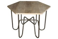 """Blake Side Table, available thru OKL. Features a US reclaimed oak top and steel legs. 36"""" diameter x 26"""" tall. The top looks almost like floorboards that were repurposed. Love it!"""