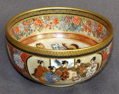 Fine Antique Japanese Satsuma Bowl - Signed Kinzan (View One)