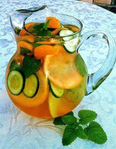 Cucumber,  grapefruit,  tangerine, mint