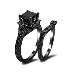 Princess Cut CZ 925 Sterling Silver Engagement / Wedding Ring Black Gold Plated - USD $93.95