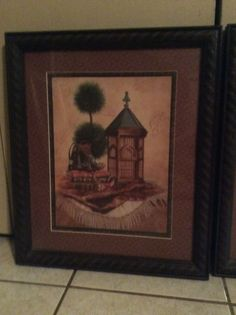 HOME INTERIORS Beautiful Vintage Brown Frames Set Of 2 16x19 Excellent